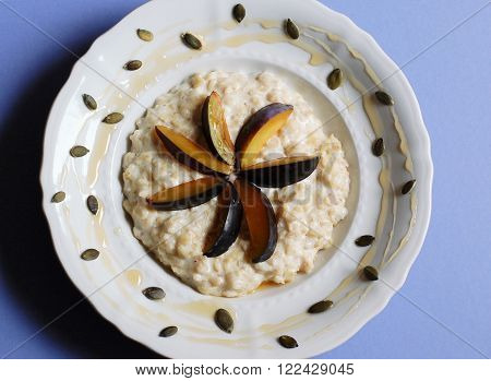 Gruel With Plum, Honey And Pumpin Seeds