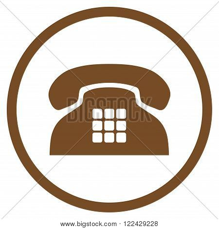Tone Phone vector icon. Picture style is flat tone phone rounded icon drawn with brown color on a white background.