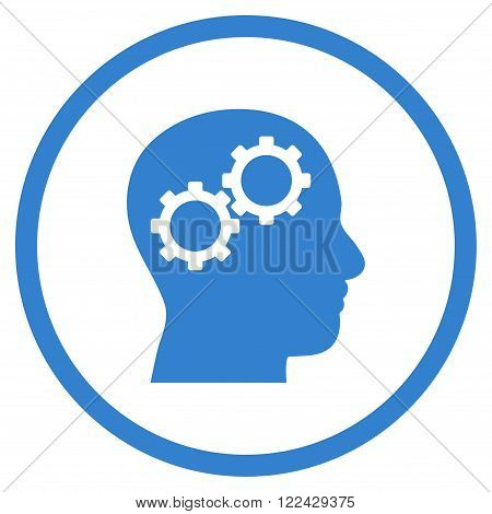 Brain Preferences vector icon. Picture style is flat brain gears rounded icon drawn with cobalt color on a white background.
