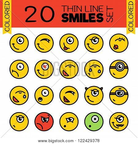 20 Merry smiles. A set of conceptual smiles. Thin line colored smiles set