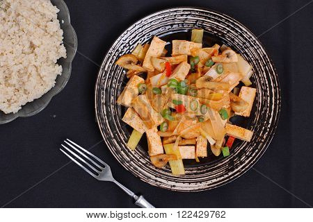Tofu With The Pepper And Grouts