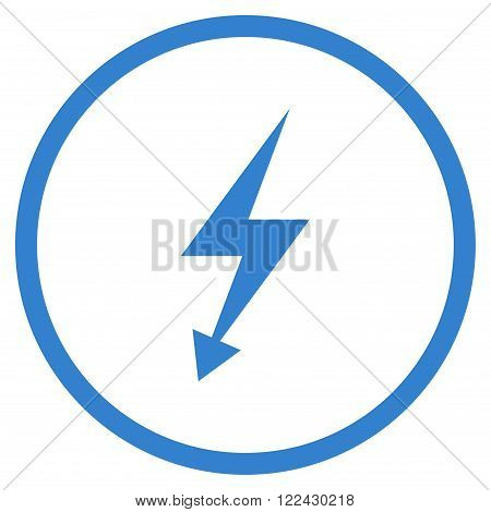 Electrical Strike vector icon. Picture style is flat electric strike rounded icon drawn with cobalt color on a white background.