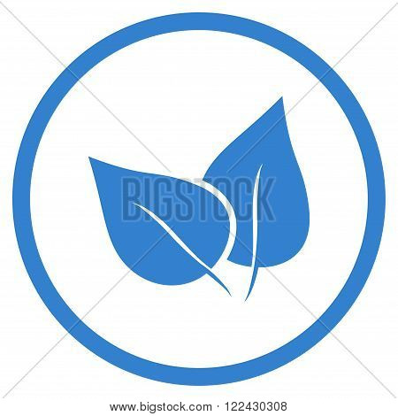 Flora Plant vector icon. Picture style is flat flora plant rounded icon drawn with cobalt color on a white background.