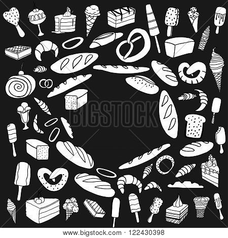Set of ice-cream Bread and cake. Monochrome Vector doodle elements. Isolated on black background
