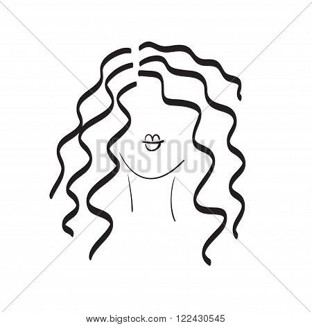 Hand drawn woman with beautiful hair and nice full lips vector icon illustration perfect for hairdressers salons stylists fashion magazines