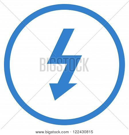 High Voltage vector icon. Picture style is flat high voltage rounded icon drawn with cobalt color on a white background.