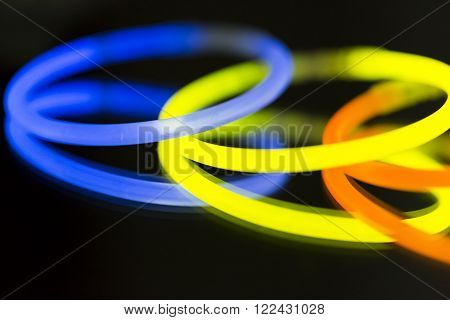 Colorful fluorescent light neon on blanck background