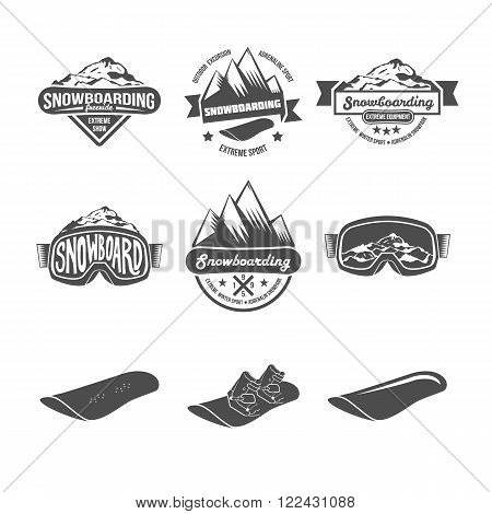 Set of Snowboarding logos and labels templates. Winter sports. Logo snowboard in the mountains. Retro logo design. Old school sport logo. Monochrome badges.