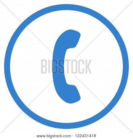 Telephone Receiver vector icon. Picture style is flat phone receiver rounded icon drawn with cobalt color on a white background.