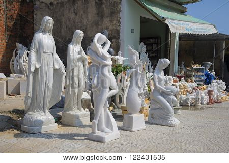 DA NANG, VIETNAM - JANUARY 05, 2016: Modern sculpture for sale in the neighborhood of Marble Mountains