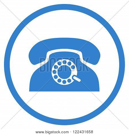Pulse Telephone vector icon. Picture style is flat pulse phone rounded icon drawn with cobalt color on a white background.