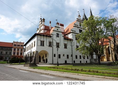 Levoca PRESOV SLOVAKIA -MAY 01 2014: Old historic building on the central square in Levoca Slovakia.