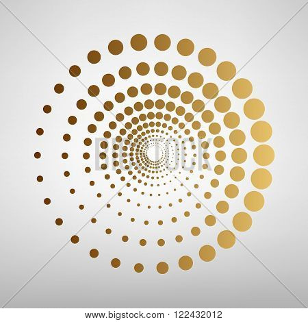 Abstract technology circles sign. Flat style icon with golden gradient