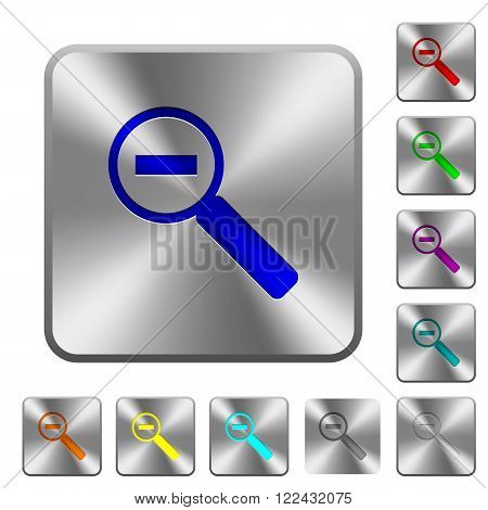 Engraved zoom out icons on rounded square steel buttons