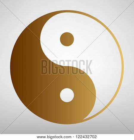 Ying yang symbol of harmony and balance. Flat style icon with golden gradient