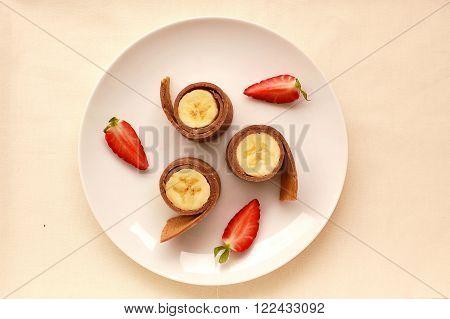 Pancake With Banana And Strawberry