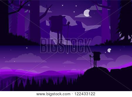 Banners about hiking. Silhouettes of tourists on a background of the night sky. Night forest, forest walks, hiking, adventures. Night forest. Illustration hiking, raster.