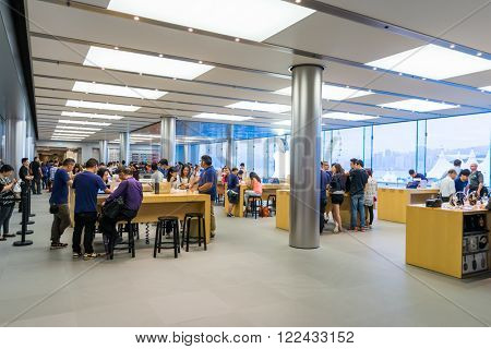 HONG KONG - MAY 26, 2015: interior of Apple store. Apple Inc. is an American multinational technology company headquartered in Cupertino, California