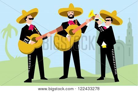 Mariachi Band in Sombrero with Guitar. Mexican Music Band. Raster illustration. The music group in traditional costumes of Mexico.