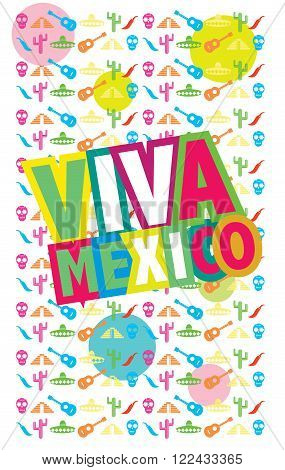 Viva Mexico, raster illustration, colorful raster poster