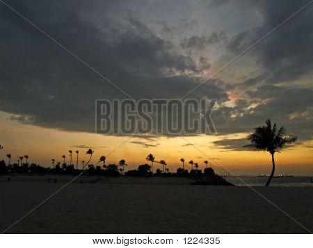 Siloso Beach Of Sentosa Island, Singapore At Dusk
