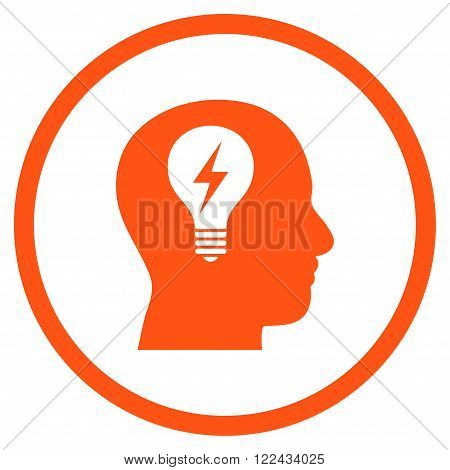 Head Bulb vector icon. Picture style is flat head bulb rounded icon drawn with orange color on a white background.