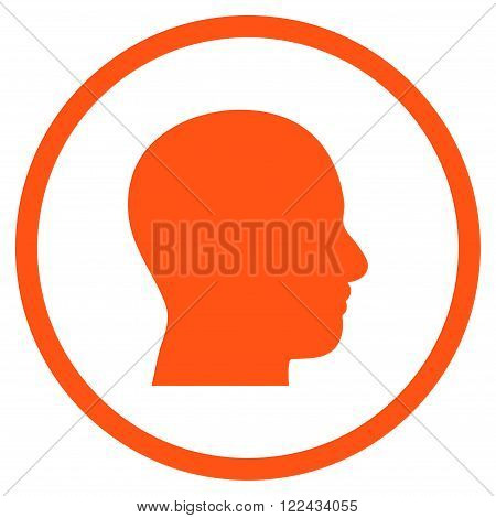 Head Profile vector icon. Picture style is flat head profile rounded icon drawn with orange color on a white background.