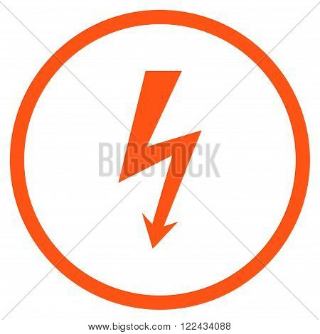 High Voltage vector icon. Picture style is flat high voltage rounded icon drawn with orange color on a white background.