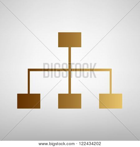 Site map sign. Flat style icon with golden gradient