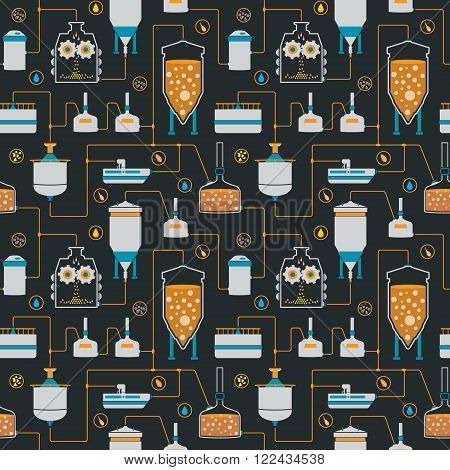 Seamless background with beer brewing process, production beer, brewery factory production elements, traditional beer crafting. Vector repeating texture