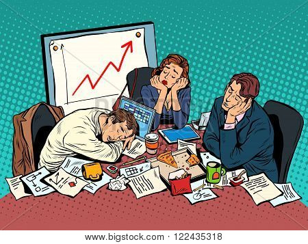 Brainstorming business concept late in the evening pop art style retro. Team work business concept. Hard work. Brain storming vector illustration