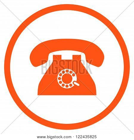 Pulse Telephone vector icon. Picture style is flat pulse phone rounded icon drawn with orange color on a white background.