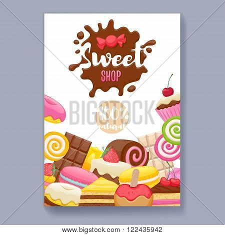 Assorted sweets colorful background with chocolate splash drop blot. Lollipops, cake, macarons, chocolate bar, candies and donut on shine background. Sweet shop. Poster cover design.