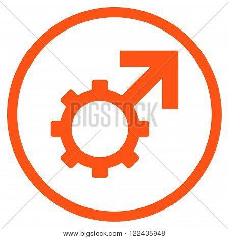 Technological Potence vector icon. Picture style is flat technological potence rounded icon drawn with orange color on a white background.