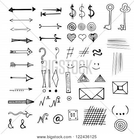 Vector hand drawn doodles arrows and other signs and symbols set isolated on white