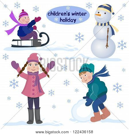 Children's winter holiday. The girl in winter coat standing with his hands up, the boy in the parka making a big snowball, the boy riding on a sled. The snowman in hat and scarf. Children's happy