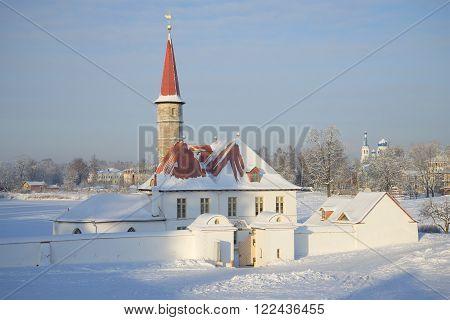 Priory Palace frosty january day. Gatchina, Russia