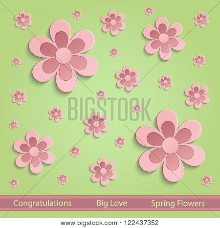 Flowers Spring paper 3D green pink vector
