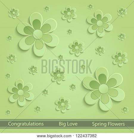 Flowers Spring paper 3D green vector template