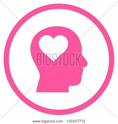 Lover Head vector icon. Picture style is flat lover head rounded icon drawn with pink color on a white background.