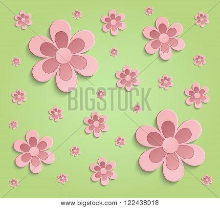 Flowers Spring paper 3D green pink wallpaper raster