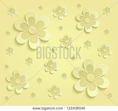 Flowers Spring paper 3D yellow wallpaper raster