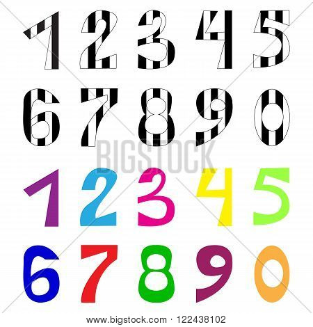 Set of vector numbers. Tabby number. Colorful and white and black. Symbol of 2016 year