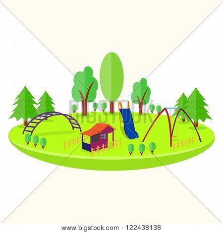 Children's Playground. House, swing,  and slide. Vector illustration. 3D style