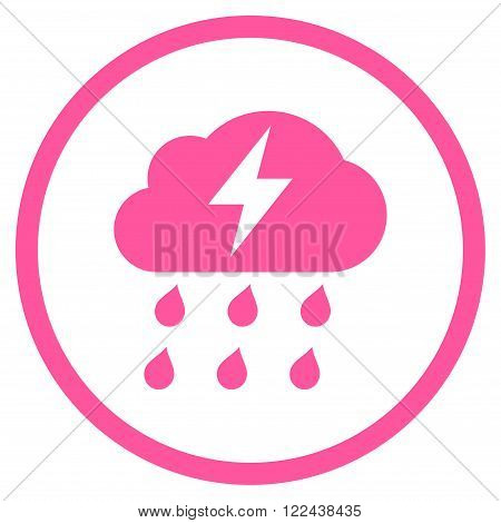 Thunderstorm vector icon. Picture style is flat thunderstorm rounded icon drawn with pink color on a white background.
