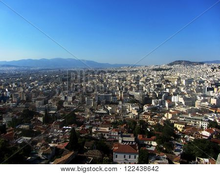Bird's eye view on the city, Athens. Pano