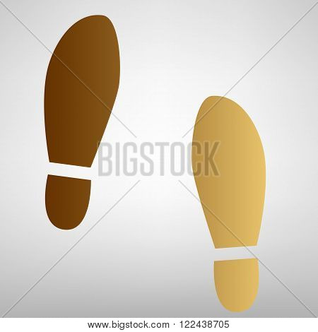 Imprint soles shoes sign. Flat style icon with golden gradient
