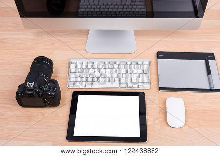 Dslr Digital Camera With Tablet And Computer Pc