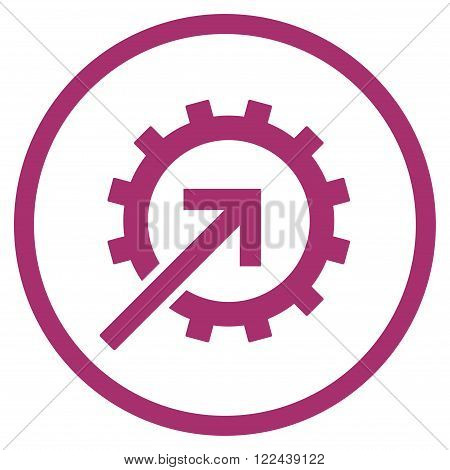 Cog Integration vector icon. Picture style is flat cog integration rounded icon drawn with purple color on a white background.