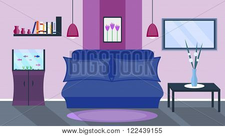 Living room. Vector home interior in flat style. Sofa and aquarium, book rack and TV, picture and lamps
